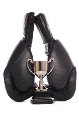 boxing gloves and trophy studio cutout Stock Photo - 9190609