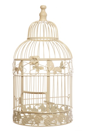cage: vintage shabby chic bird cage studio cutout Stock Photo