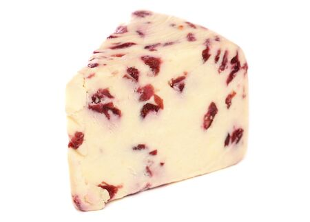 wensleydale: Wensleydale and Cranberry cheese studio cutout Stock Photo