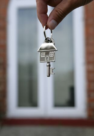keyring: House keys and keyring closeup