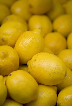 Lemons on a market stool Stock Photo