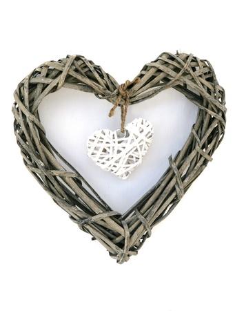 白い背景で隔離の木の心装飾