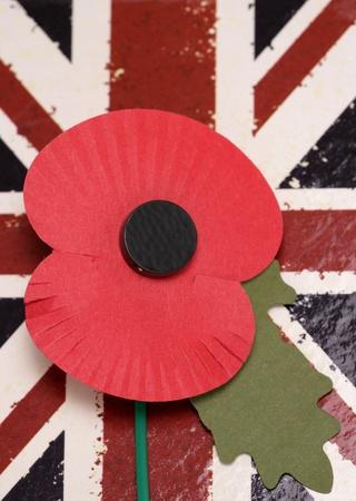 Remembrance day poppy on union jack background