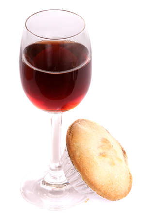 sherry: Christmas sherry and mince pie on white background
