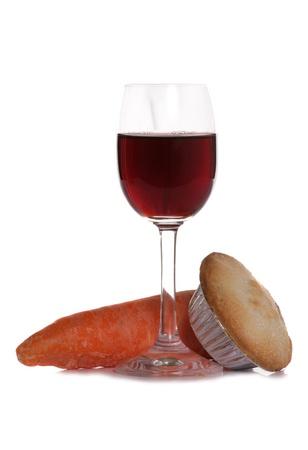 Christsmas sherry mince pie and carrot studio cutout Stock Photo - 11559962