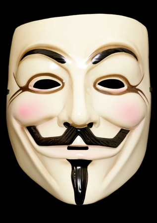 Guy fawkes mask on a black background