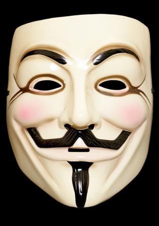 La m�scara de Guy Fawkes en un fondo negro