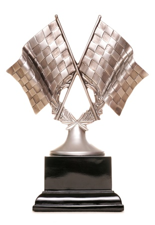 Racing trophy on white background photo