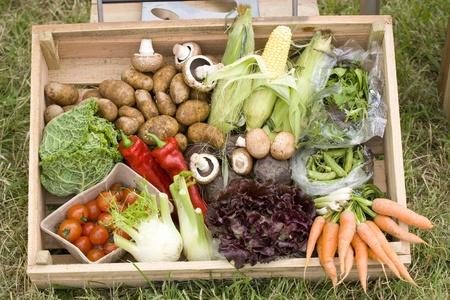 org�nico: Caja de verduras org�nicas saludables Foto de archivo