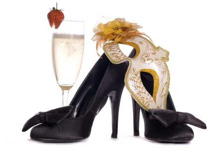 Masquerade mask with high heels and champagne cutout Stock Photo