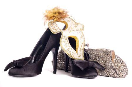 high heel shoes: masquerade mask with high heel shoes and handbag studio cutout
