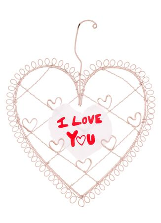 I love you message on a heart note board studio cutout Stock Photo - 15313067