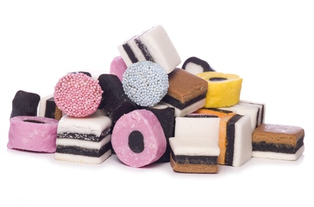 Pile of Liquorice allsorts cutout