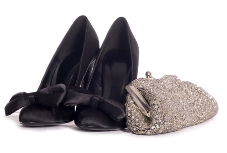 high heel shoes and clutch bag studio cutout photo