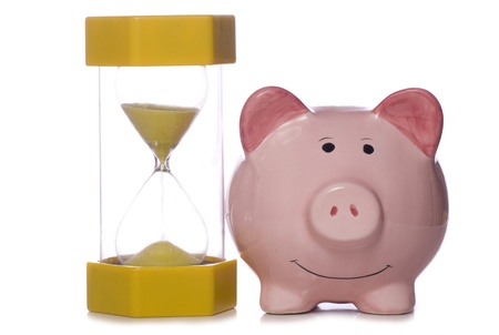 piggy bank and sand timer studio cut out