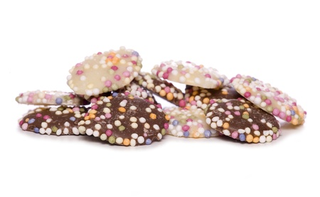 hundreds and thousands: chocolate buttons with hundreds and thousands cutout
