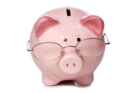 financial advice: wise money saving piggy bank studio cut out