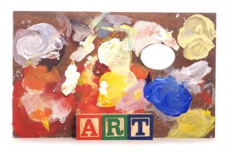 pallette: palette de peinture avec des blocs de construction studio d'art d�couper