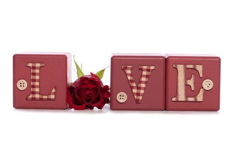 word love with red rose studio cutout photo