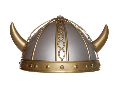 viking warrior helmet studio cutout Stock Photo