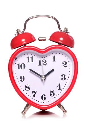 ハートカット形の目覚まし時計 写真素材