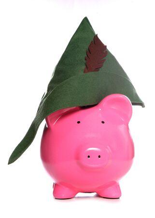 robin hood: robin hood piggy bank studio cutout Stock Photo
