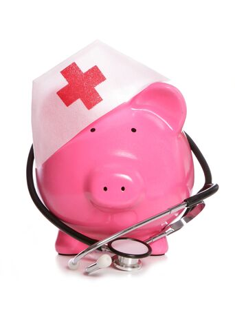 stethoscope: Medical piggy bank studio cutout