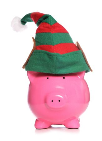 christmas savings: Piggy bank christmas elf studio cutout