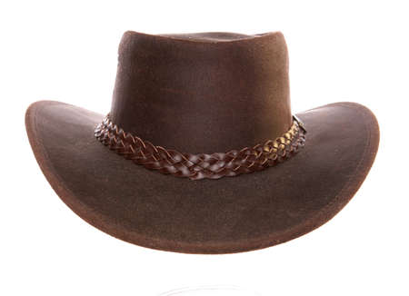 brown leather hat: Leather Cowboy Hat studio cutout