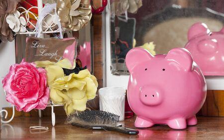 dressing table: Piggy bank on a dressing table