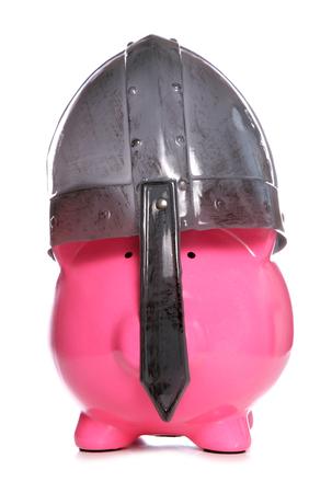 ransack: Piggy bank wearing a viking helmet cutout