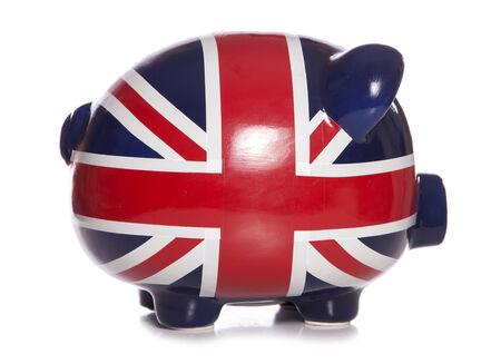 credit union: union jack piggy bank profile studio cutout
