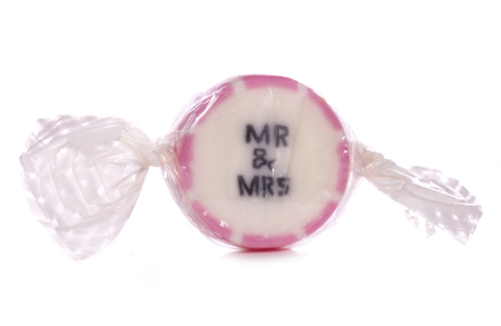 mr and mrs: Mr and mrs wedding sweet cutout Stock Photo