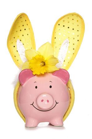 Easter piggy bank studio cutout photo