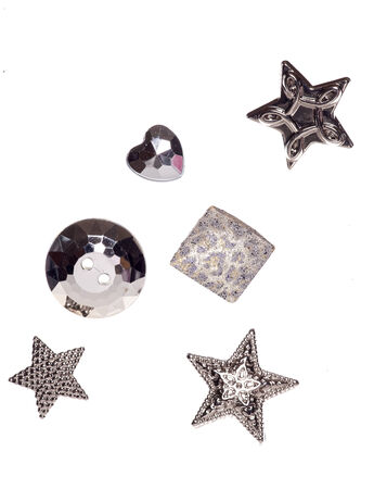 shiny buttons: six silver shiny buttons studio cutout Stock Photo