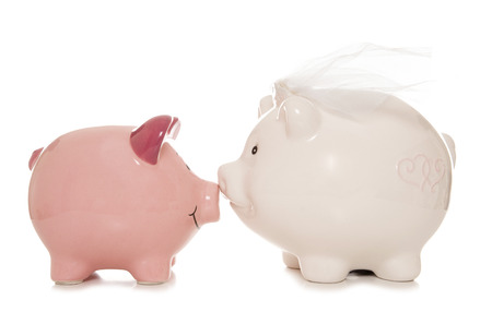 two piggy banks getting married cutout photo