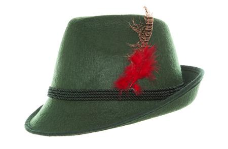hat with feather: Green Oktoberfest bavarian hat studio cutout