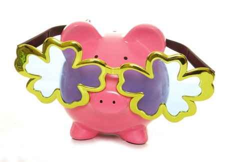 over sized: Piggy bank wearing over sized comedy glasses cutout