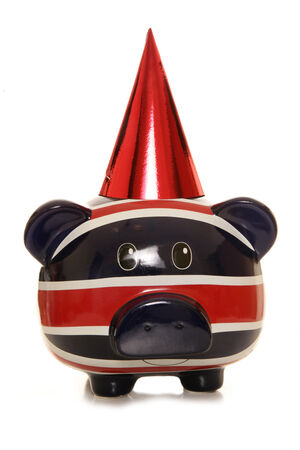Happy birthday piggy bank studio cutout photo