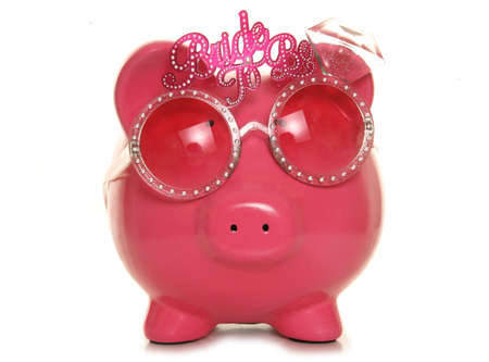 piggy bank wearing bride to be glasses cutout photo
