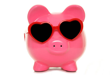 sale: piggy bank wearing heart shape glasses cutout