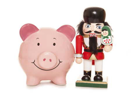christmas savings: piggy bank and nutcracker christmas ornament cutout