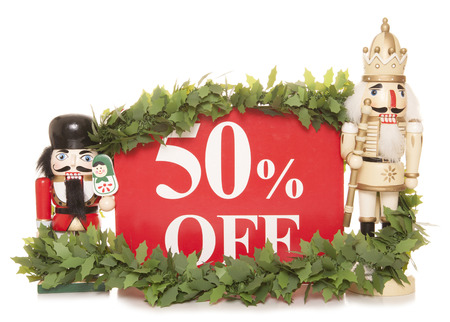 pig out: 50% off christmas sale sign and nutcracker ornaments cutout