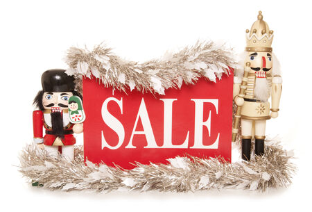 sale sign: christmas sale sign with nutcracker ornaments cutout Stock Photo