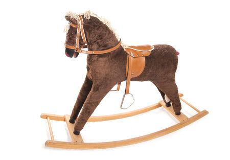 rocking: vintage brown rocking horse studio cutout