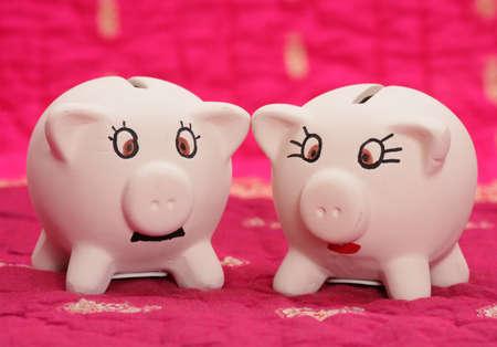 se�ora: mr y mrs piggy banco en el fondo de color rosa