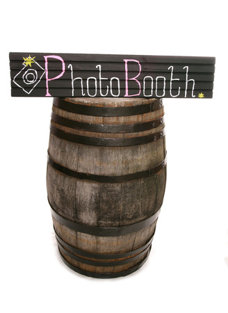 Handmade chalkboard photobooth sign and barrel cutout photo