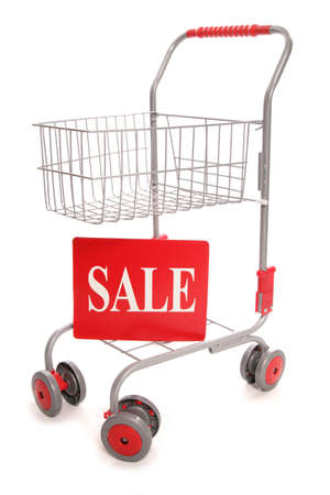 sale sign: shopping trolley with sale sign cutout