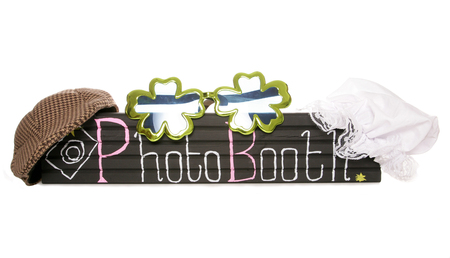 Photo booth sign with fancy dress hats cutout photo