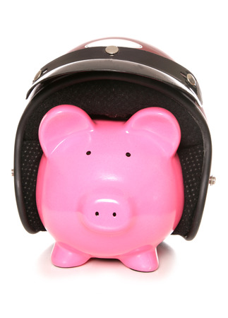 crash helmet: piggy bank wearing a crash helmet cutout